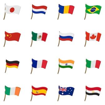 Icônes de drapeau définies dans un style bande dessinée isolé