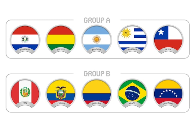 Icônes de drapeau du championnat de football sud-américain en argentine et en colombie