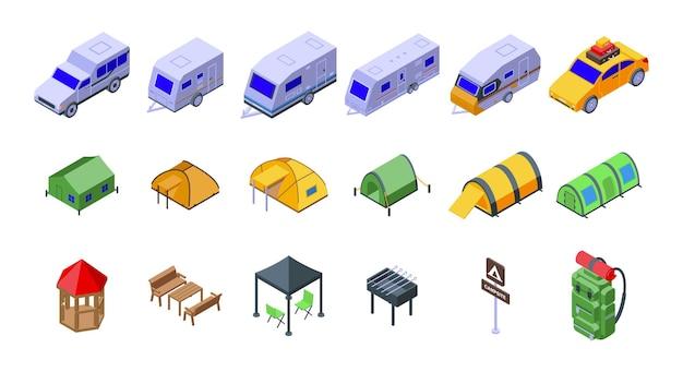 Les icônes du camping définissent le vecteur isométrique. activité sac à dos