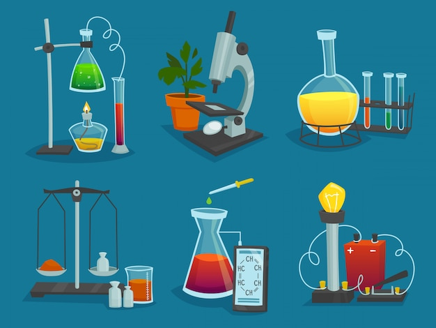 Icônes du design ensemble d'équipements de laboratoire