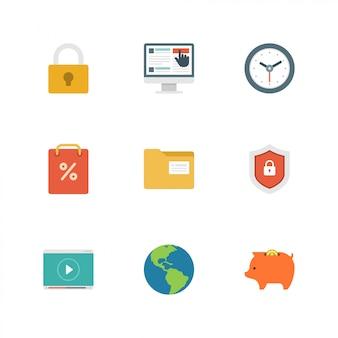 Icônes du design plat vector illustration