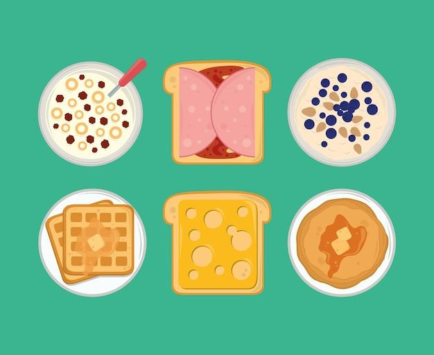 Icônes du menu du petit déjeuner