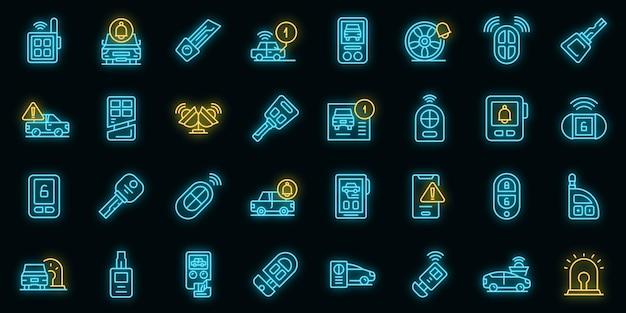 Les icônes du système d'alarme de voiture définissent le vecteur de contour. porte-clés. allumage automatique