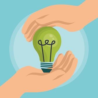 Icônes d'écologie énergie ampoule