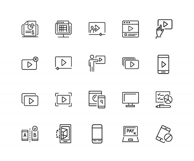 Icônes d'écran ensemble de vingt icônes de ligne. fenêtre de joueur, téléphone portable, ordinateur portable.