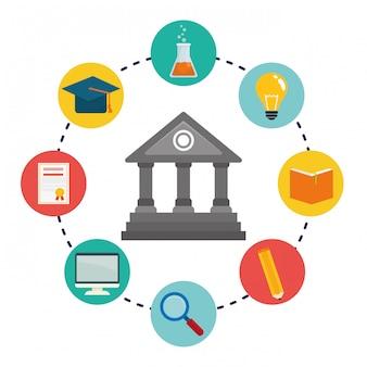 Icônes d'éducation et d'apprentissage en ligne