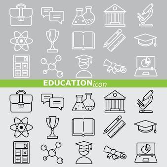 Icônes de l'éducation. ensemble linéaire