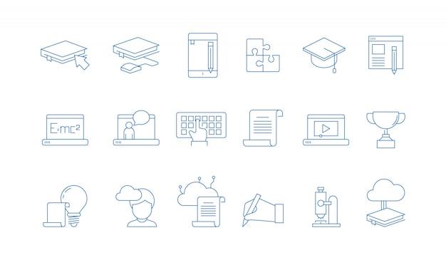 Icônes de l'éducation en ligne. formation cours d'études collège école spéciale avec des tutoriels à distance sur ordinateur web symboles linéaires