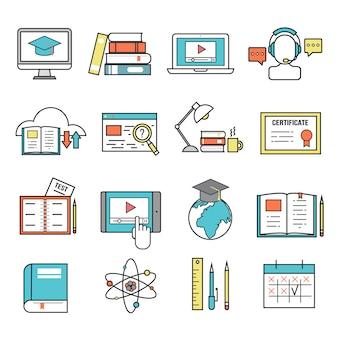 Icônes d'éducation en ligne