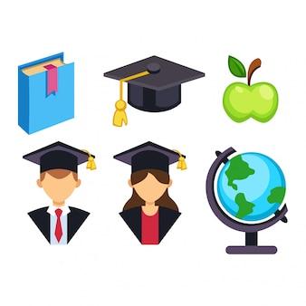 Icônes de l'éducation de remise des diplômes