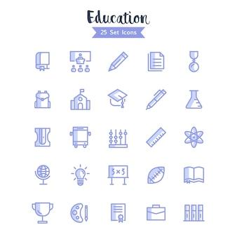 Icônes de l'éducation vector style moderne