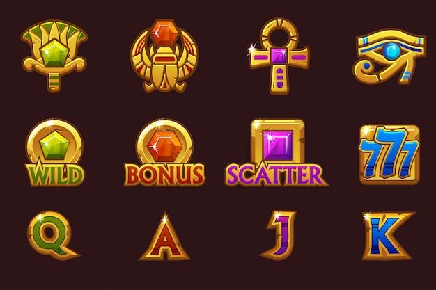 Icônes égyptiennes pour le jeu de machines à sous de casino avec des pierres précieuses colorées. icônes d'emplacement sur des calques séparés.