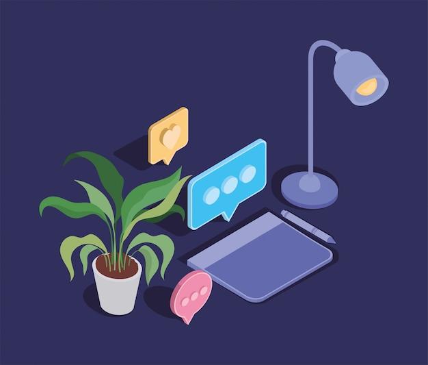 Icônes électroniques et de bureau de la tablette design