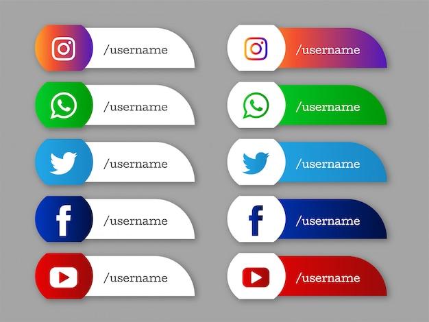Icônes élégantes du tiers inférieur des médias sociaux