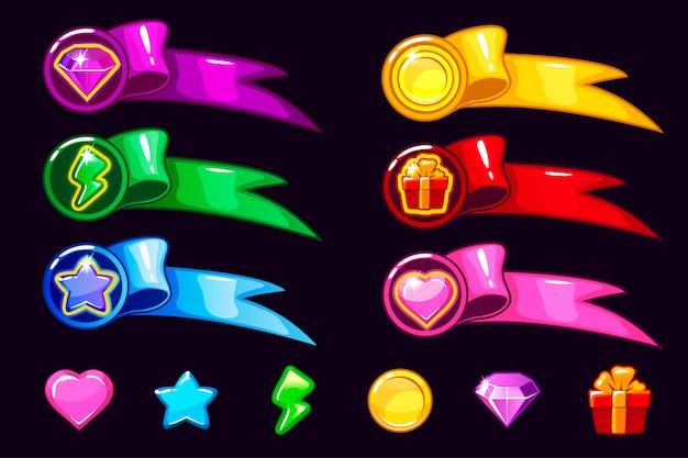 Icônes et éléments de l'interface graphique de dessin animé.