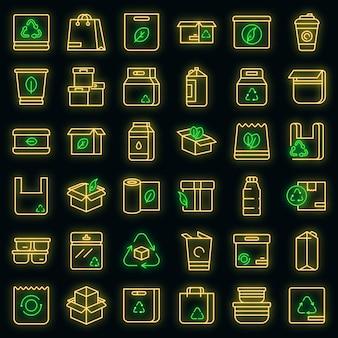 Icônes d'emballage écologique définies néon vectoriel
