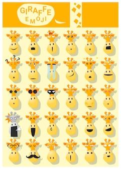 Icônes emoji girafe