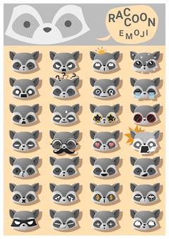 Icônes emoji de raton laveur