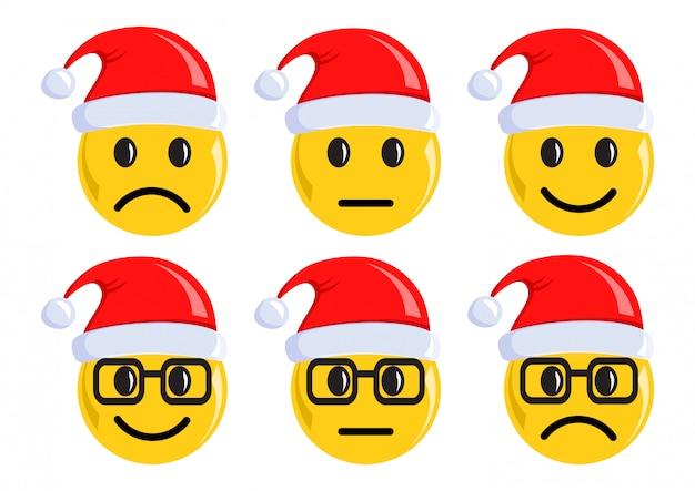 Icônes d'émoticônes de noël. humeur négative, neutre et positive. illustration vectorielle
