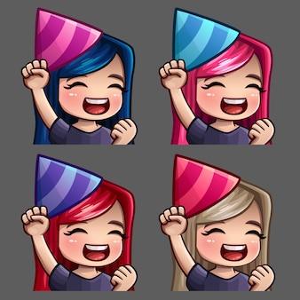 Icônes d'émotion femme heureuse fête avec des poils longs pour les réseaux sociaux et des autocollants