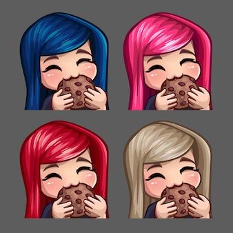 Icônes d'émotion femme heureuse mange des cookies avec des poils longs pour les réseaux sociaux et des autocollants