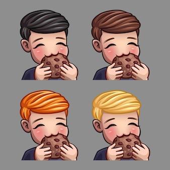 Icônes d'émotion homme heureux mange des cookies pour les réseaux sociaux et des autocollants
