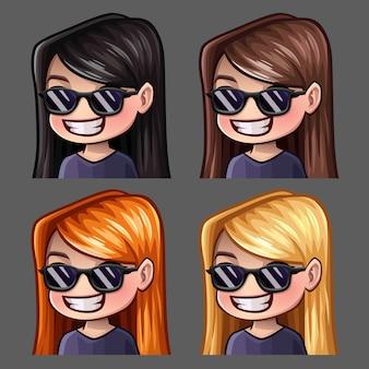 Les icônes d'émotion sourient aux femmes dans des verres noirs avec des poils longs pour les réseaux sociaux et des autocollants