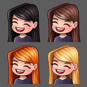Les icônes d'émotion sourient aux femmes avec de longs poils pour les réseaux sociaux et des autocollants