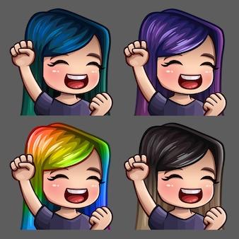 Les icônes d'émotion sourient à une femme heureuse avec des poils longs pour les réseaux sociaux et des autocollants
