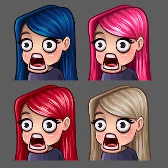 Icônes d'émotion surpris femme aux cheveux longs pour les réseaux sociaux et autocollants