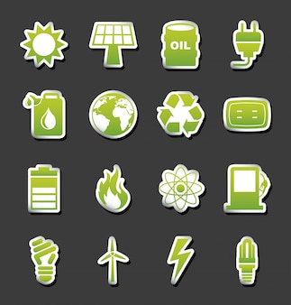Icônes d'énergie au cours de l'illustration vectorielle fond noir