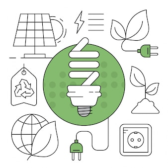 Icônes d'énergie verte linéaire éléments environnementaux minimaux