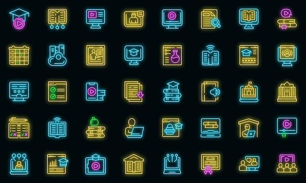 Les icônes de l'enseignement à domicile définissent le vecteur de contour. bourse de conseil. réponse en nuage informatique
