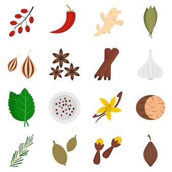 Icônes d'épices définies dans un style plat