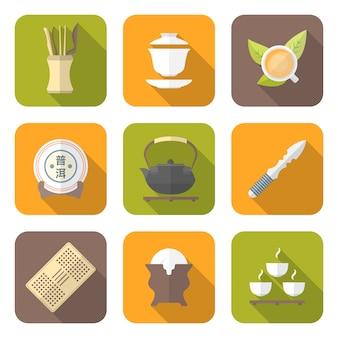 Icônes d'équipement de cérémonie du thé chinois