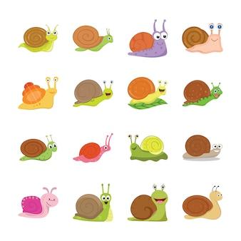 Icônes d'escargot mignon