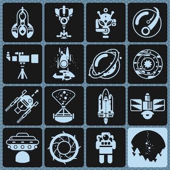 Icônes de l'espace monochrome