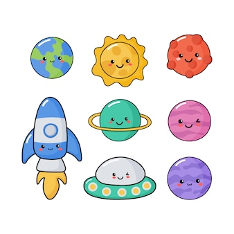 Icônes de l'espace. planètes style kawaii.