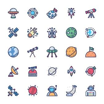 Icônes de l'espace en vecteur plat