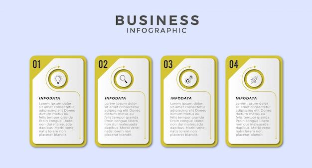 Icônes ou étapes de conception infographique d'entreprise premium