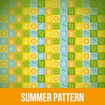 Icônes d'été sur les carrés fond illustration vectorielle