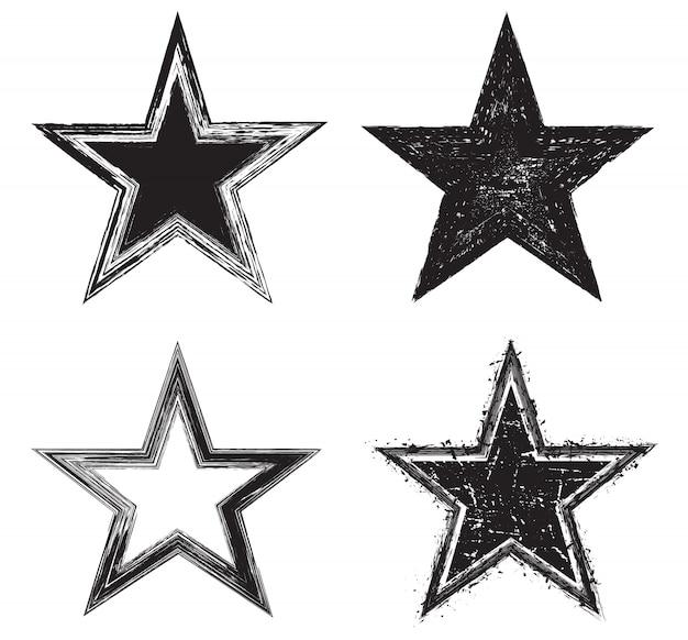 Icônes étoiles grunge