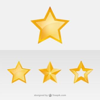 Icônes étoiles d'or de vecteur