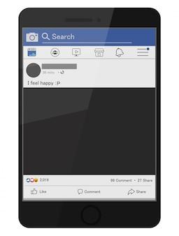 Icônes facebook et composants des écrans de médias sociaux