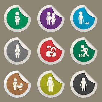 Icônes de famille définies pour les sites web et l'interface utilisateur