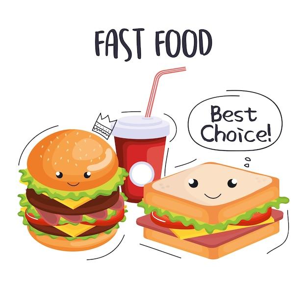 Icônes de fast-food délicieux vector illustration design