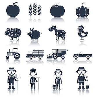 Icônes de ferme définies en noir