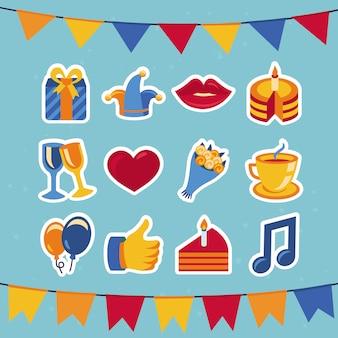Icônes de fête et d'anniversaire de vecteur - collection dans un style plat rétro