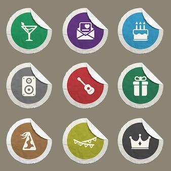 Icônes de fête définies pour les sites web et l'interface utilisateur