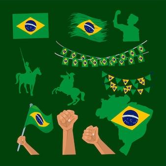 Icônes de la fête de l'indépendance du brésil